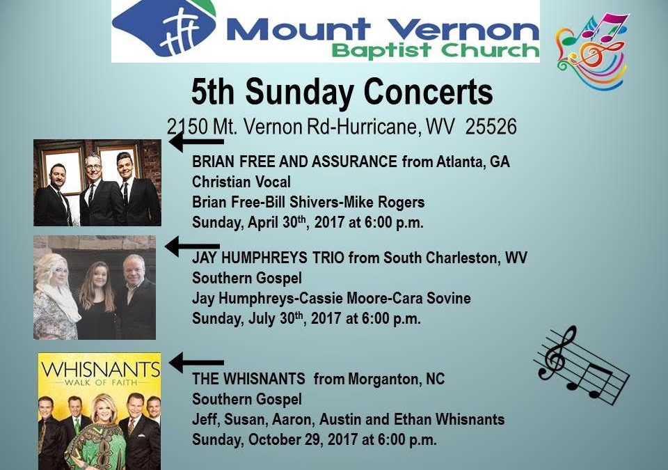 Announcing 5th Sunday Concert Series