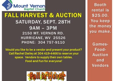 Fall Harvest & Auction Sat Revised, Sept 2019